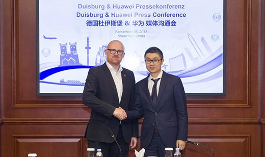 The Mayor of Duisburg, Sören Link, meets Yu Dong, President of Industry Marketing and Solutions at Huawei Enterprise Business Group, during his visit to Huawei headquarters in Shenzhen, China, on 3-4 September
