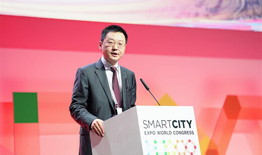 Ma Yue, Vice-President of Huawei Enterprise Business Group, delivers a keynote speech at the 2018 Smart City Expo World Congress in Barcelona in November.