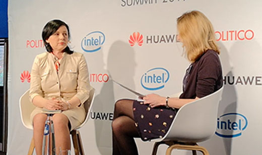Věra Jourová, European Commissioner for Justice, Consumers and Gender Equality, speaking to a reporter at the Politico AI Summit on 19 March. The event was sponsored by Huawei