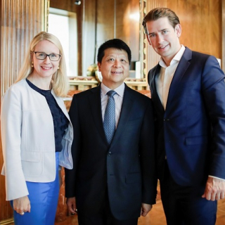 (From left to right) Austria Economic Minister Margarete Schramböck, Huawei Rotating Chairman Guo Ping, Austrian Federal Chancellor Sebastian Kurz