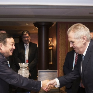 Czech President Miloš Zeman shaking hands with Huawei founder and CEO Ren Zhengfei
